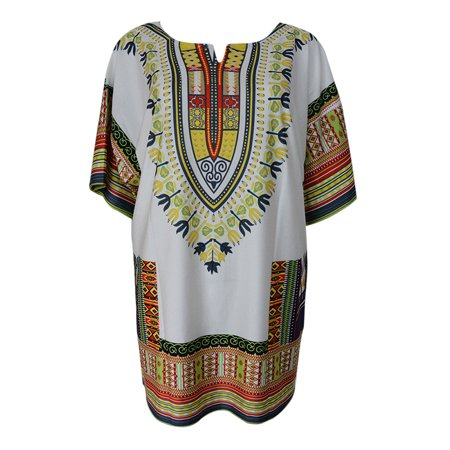 New Fashion Women African Dashiki O-neck Floral Patchwork Shirt Kaftan Boho Hippe Gypsy Festival Party (Best African Fashion Dresses)