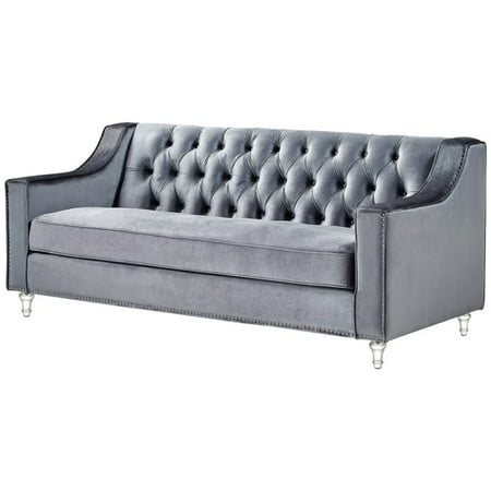 Pleasant Brika Home Velvet Tufted Sofa In Gray Beutiful Home Inspiration Ommitmahrainfo