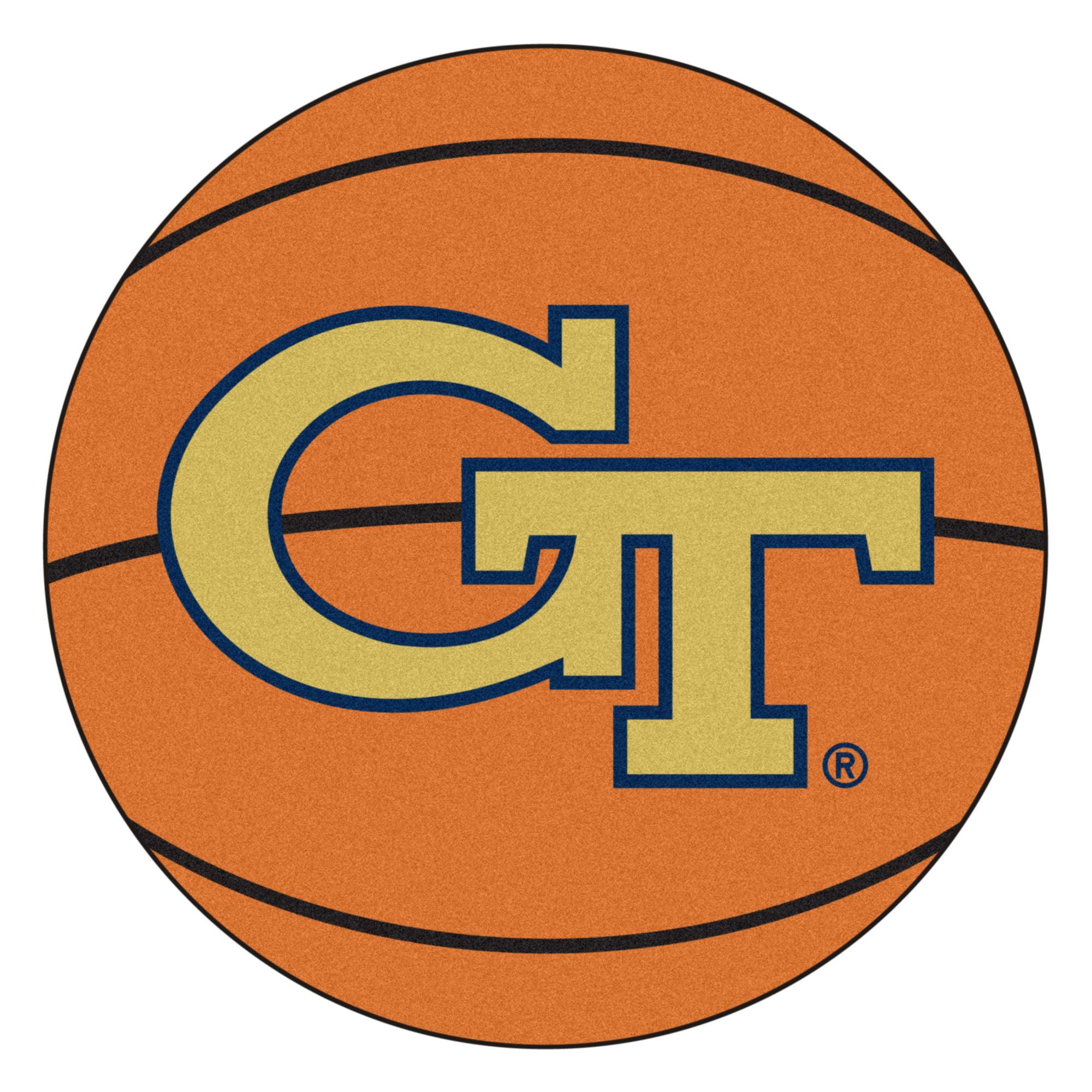 NCAA Georgia Tech Yellow Jackets, Ramblin' Wreck Basketball Shaped Mat Area Rug