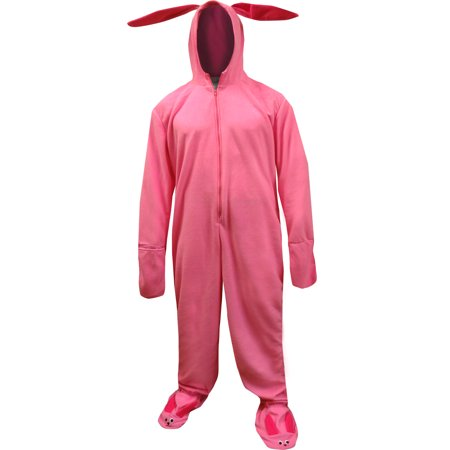 intimo a christmas story mens ralphie deranged pink bunny critter suit hooded pajamas