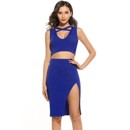 2018 The Newest Women Casual Solid 2 Pieces Sexy Deep V Neck Sleeveless Cross Front Top and Skirt STDTE