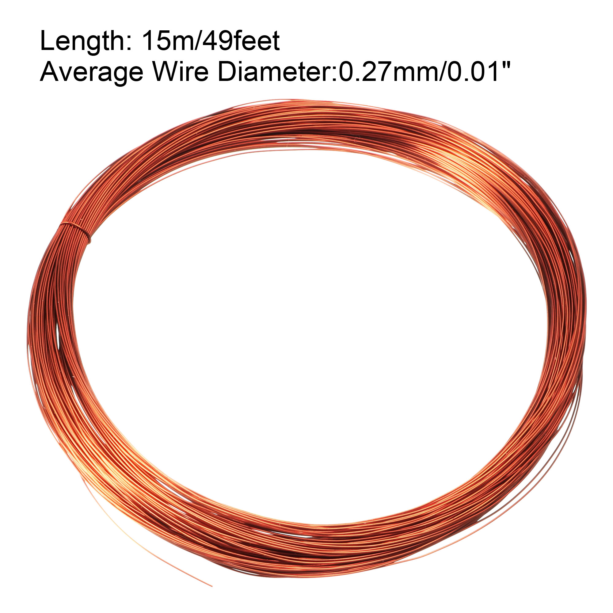 0.27mm Dia Magnet Wire Enameled Copper Wire Winding Coil 49/' Length