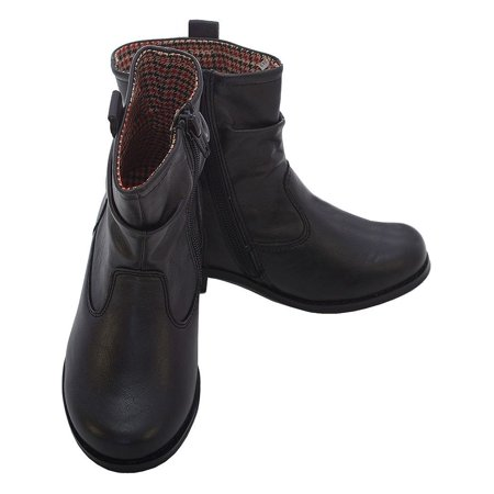L' Amour Black Leather Mid Ankle Zip Fashion Boots Little Girls - Girls Leather Boots