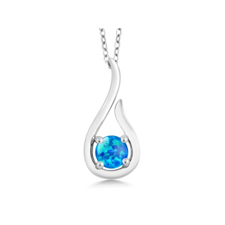 0.50 Ct Round Cabochon Blue Simulated Opal 925 Silver Pendant With