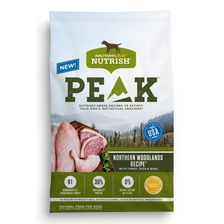Rachael Ray Nutrish PEAK Natural Dry Dog Food, Grain Free, Northern Woodlands Recipe with Turkey, Duck & Quail, 12 lbs