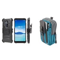 BC Rugged Dual Layer Armor Kickstand Holster Case (Black) with Blue Gray Tactical EDC MOLLE Waist Bag Holder Pouch and Atom Cloth for Alcatel 7 (MetroPCS)