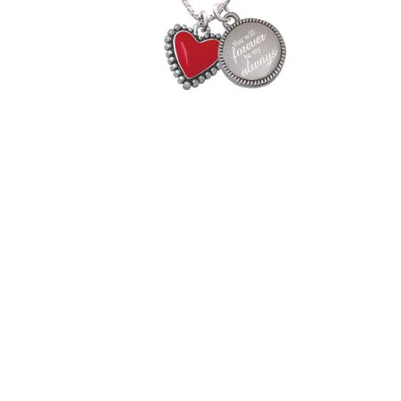 Silvertone Red Heart with Beaded Border You Will Forever Be My Always Engraved Necklace