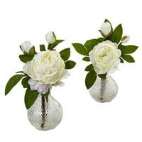 11 in. Peony Floral Arrangements in Decorative Vase, Set of 2