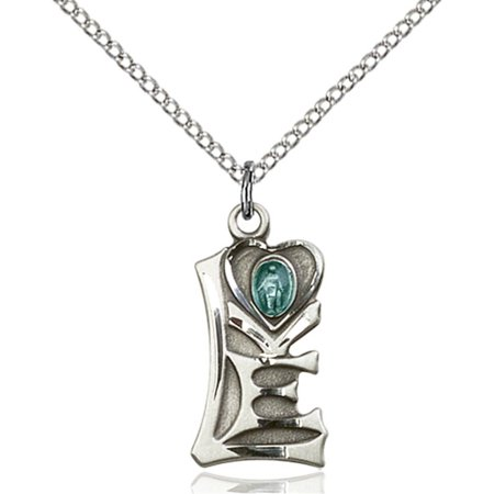Sterling Silver Miraculous Pendant 3 4 X 3 8 Inches With Sterling Silver Lite Curb Chain