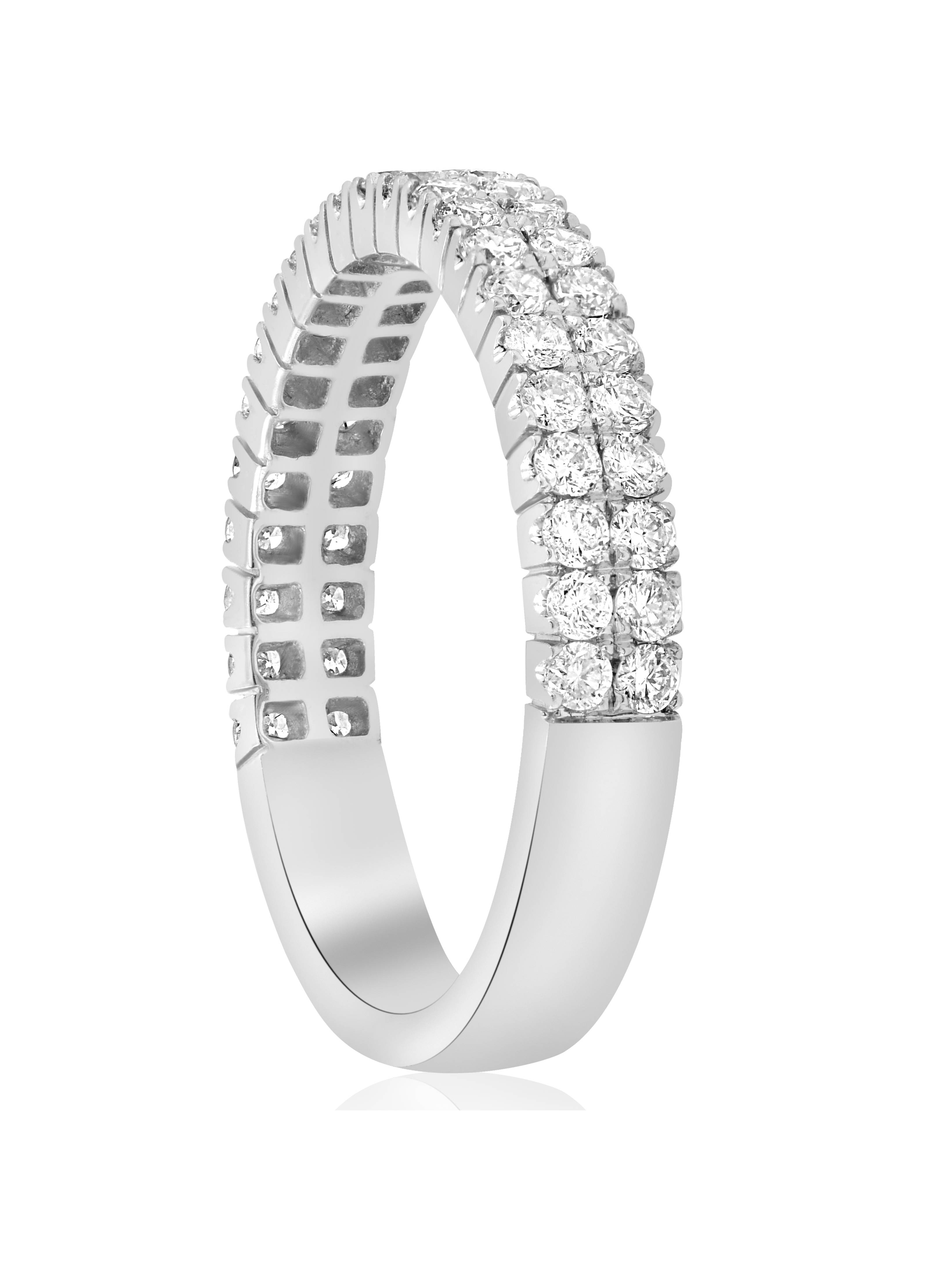 1acd0270f9660 FVVS 3/4ct Diamond Double Row Stackable 1/2 Eternity Ring 14k White Gold
