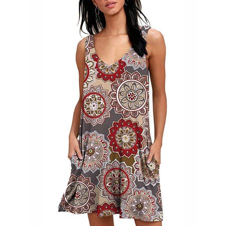 Match A-line (Women Summer Sleeveless A-Line Print)