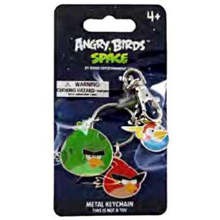 Space Red, Green, Blue Bird 3-Pack 3.5 Metal Keychain - Bird Keychain