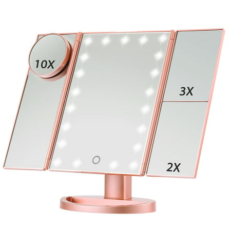 Magicfly Led Lighted Makeup Mirror, 10X 3X 2X 1X Magnifying Mirror 21 LED Tri-Fold Vanity Mirror Touch Screen 180° Adjustable Stand, Brightness Travel Beauty Mirror (Rose