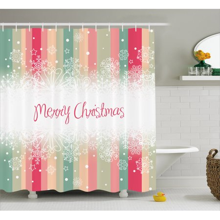 (New Year Shower Curtain, Colorful Vertical Stripes with Merry Christmas Quote Winter Season Theme Snowflake, Fabric Bathroom Set with Hooks, 69W X 75L Inches Long, Multicolor, by Ambesonne)