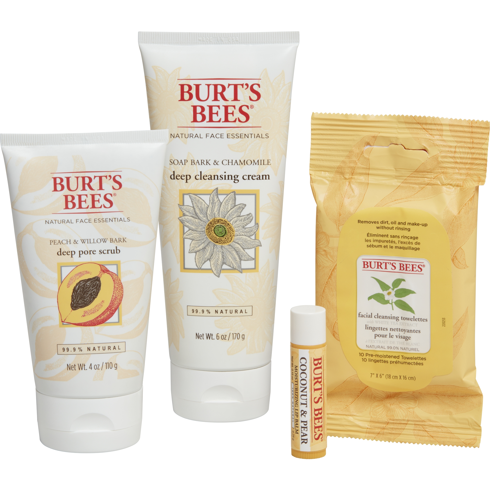 Burt's Bees Face Essentials Gift Set, 4 Skin Care Products - Cleansing Towelettes, Deep Cleansing Cream, Deep Pore Scrub and Lip Balm