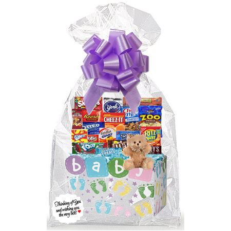 New Baby Baby Shower Mom to Be Thinking Of You Cookies, Candy & More Care Package Snack Gift Box Bundle Set - Arrives in 3-4Business (Care Package Gift Set)