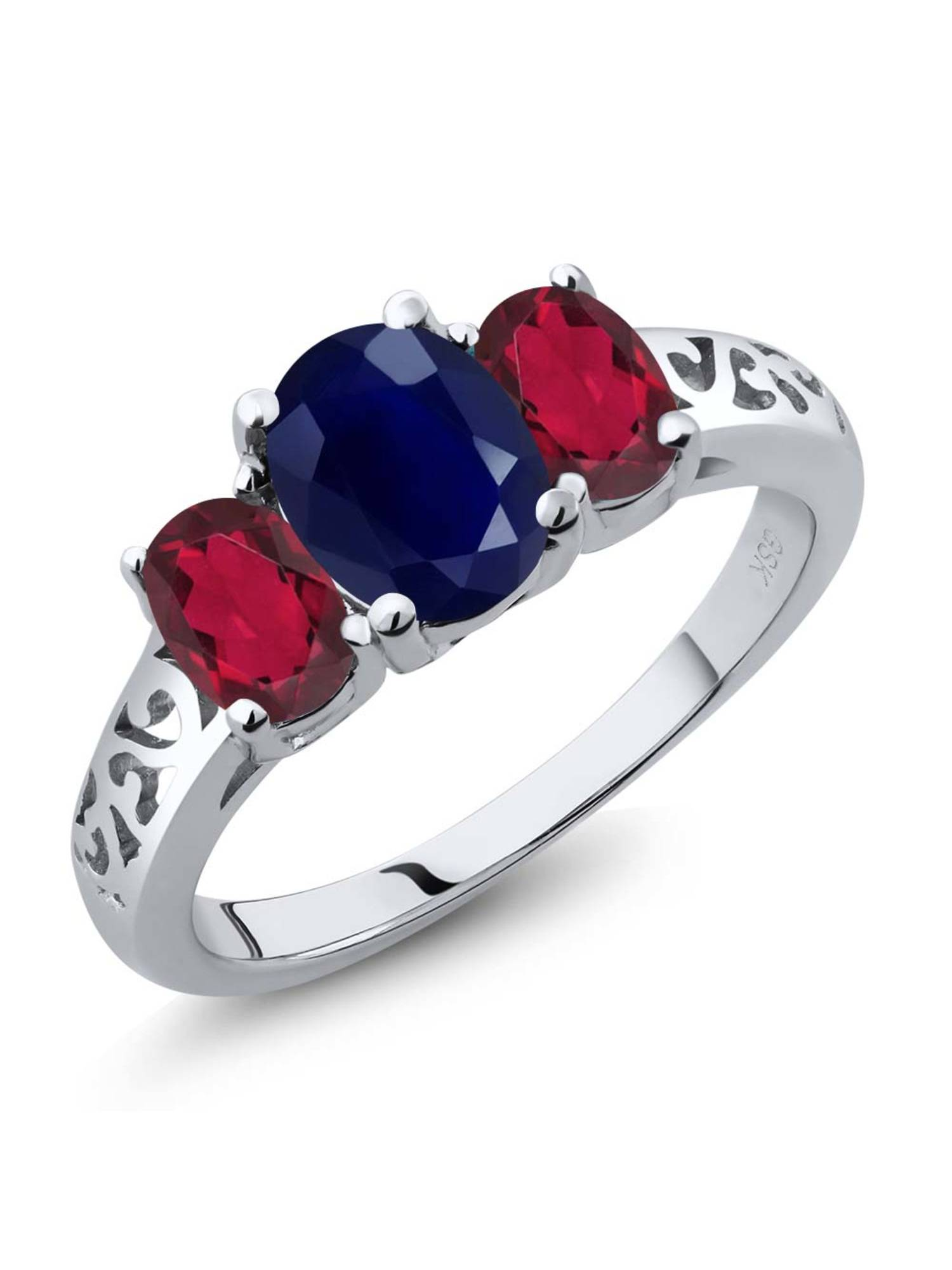 2.79 Ct Oval Blue Sapphire Red Mystic Topaz 925 Sterling Silver Ring by