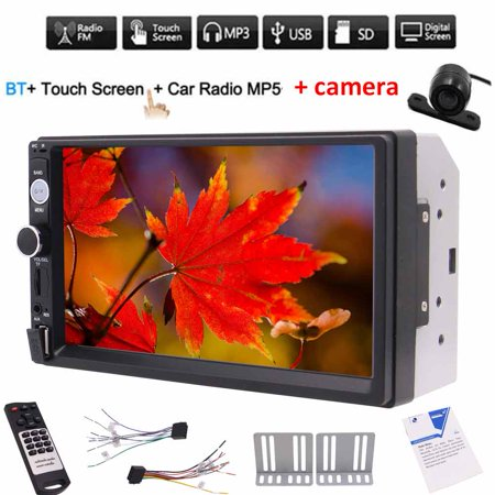 Car System - Free Rear view camera + Double din 2din car MP5 player 7'' digital Capacitive touch screen in dash car PC system headunit no DVD cd player FM Radio Bluetooth car styling auto mp5 radio + Rem