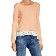 Wild Pearl NEW Orange Size Medium M Junior Boat Neck Lace-Trim Sweater