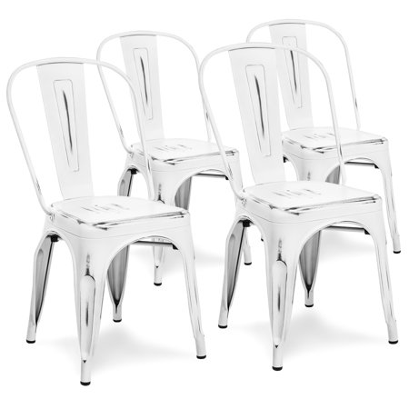 Best Choice Products Set Of 4 Stackable Industrial Distressed Metal Bistro Dining Side Chairs for Home, Dining Room, Cafe - White ()