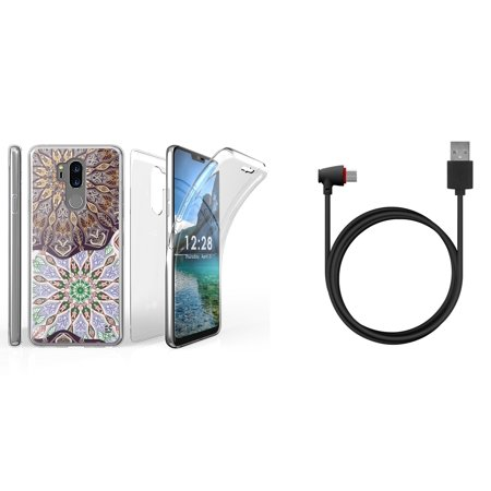 Tri Max LG G7 ThinQ Case Bundle with Ultra Slim Full Body Cover Case with Screen Protector (Kaleidoscope) with 90 Degree Right Angle USB Type-C Cable (4 Feet) and Atom Cloth for LG G7 ThinQ (Screen 90 Degree Angle)