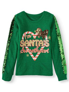 Holiday Time Reversible Flip Sequin Christmas Sweater Knit Top (Little Girls, Big Girls & Plus)