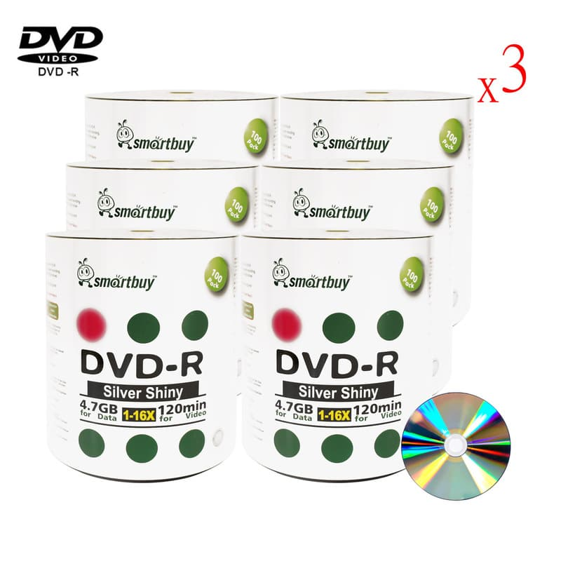 1800 Pack Smartbuy 16X DVD-R 4.7GB 120Min Shiny Silver (Non-Printable) Data Blank Media Recordable Disc