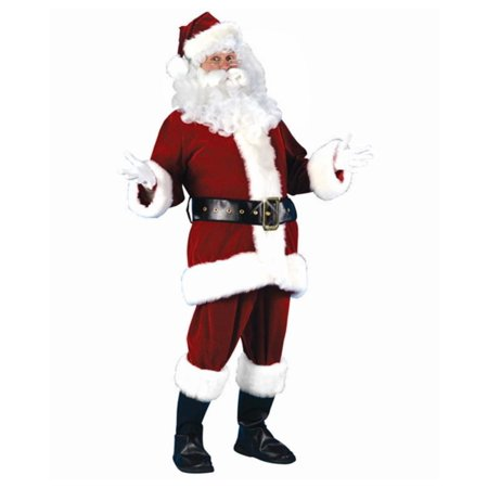 7-Piece Plush Velour Santa Claus Christmas Suit Costume - Adult Size Small