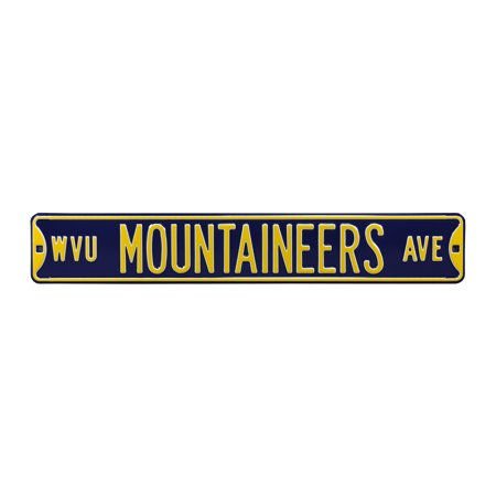 "West Virginia Mountaineers 6"" x 36"" College Ave Street Sign - Navy - No Size"