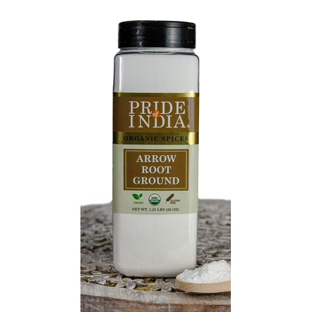 Pride Of India- Organic Arrowroot Ground Powder- 20 oz (566 gm) Large Dual Sifter Jar - Authentic Indian Vegan Flour - Best Added in Cakes, Jellies, Pies & Sauces etc - Offers Best Value for Money
