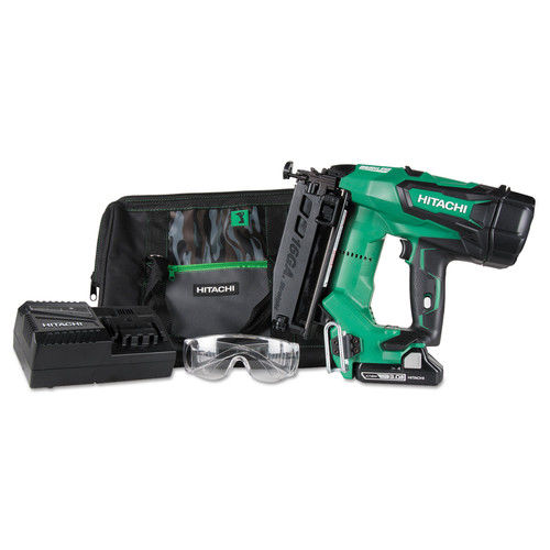 Hitachi NT1865DM 18V 3.0 Ah Cordless Lithium-Ion Brushless 2-1 2 in. 16 Gauge Straight Brad Nailer by Hitachi Power Tools