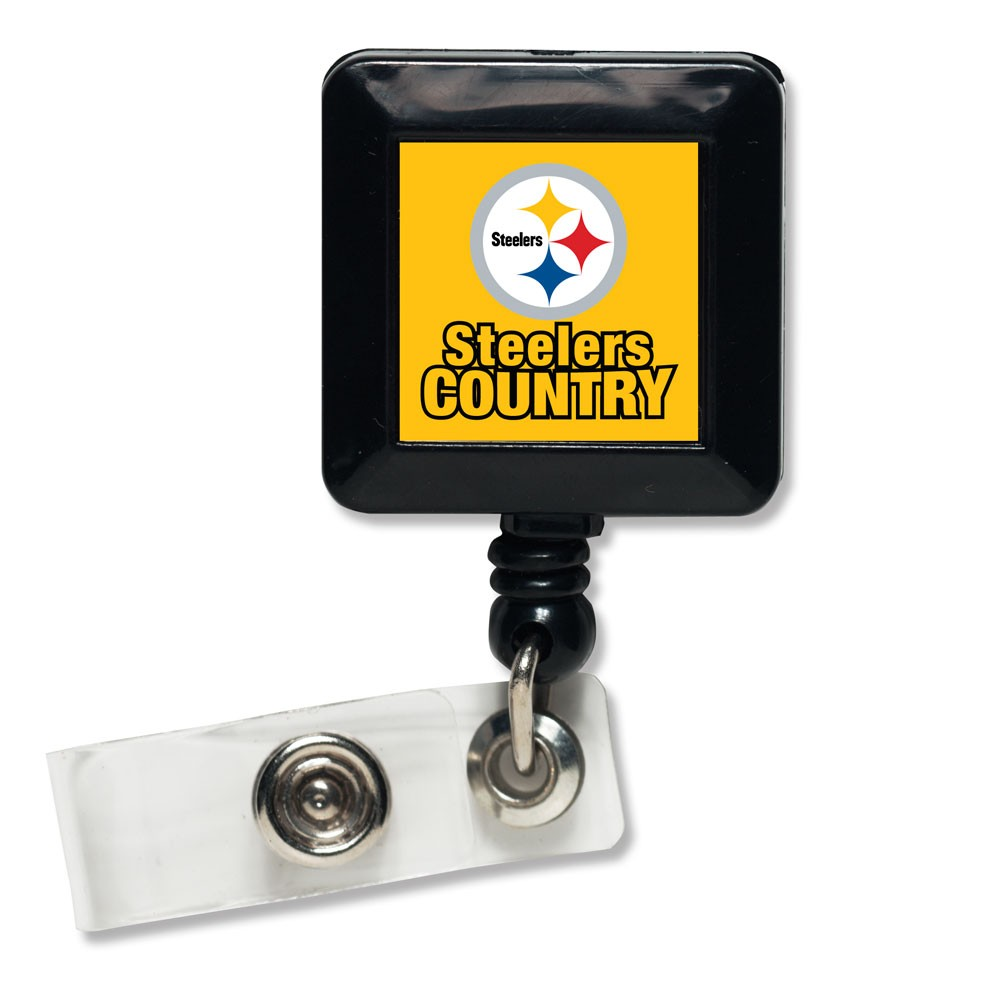Pittsburgh Steelers Official NFL 1 inch x 1 inch  Retractable Badge Holder Key Chain Keychain by Wincraft