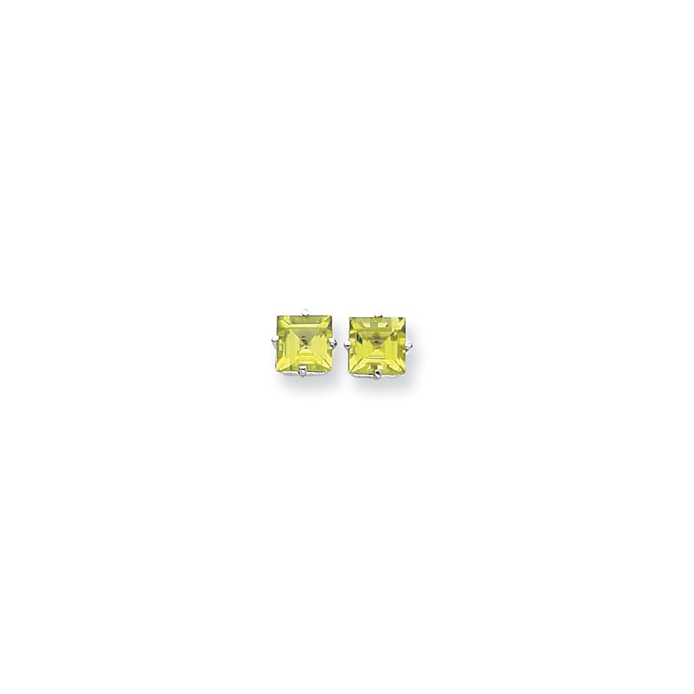 14k White Gold 7mm Princess Cut Peridot Earrings Gem Wt- 3.8ct