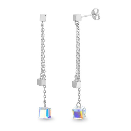 Faceted Crystal Cube on Cable Chain Dangle Earring made with Swarovski Crystals