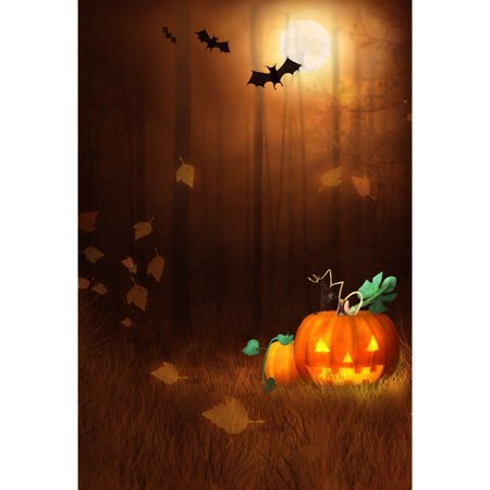 HelloDecor Polyster 5x7ft Happy Halloween Pumpkin Bats Photography Backdrop Newborn Family Photo - Halloween Family Photo Ideas