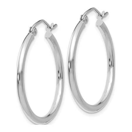 14k Boucles d'oreilles en or blanc blanc 2 mm Hoop ronde (2x25mm) - image 1 de 4
