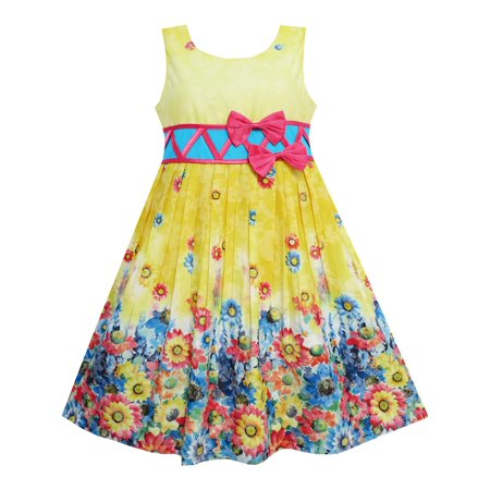 Girls Dress Sunflower Garden Flower Print Cotton Yellow 4 - Cotton Flower Girl Dresses