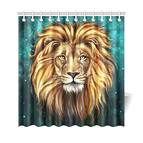 GCKG African Wildlife Animal Lion Shower Curtain Green Galaxy Univer Stars Space Polyester Fabric Bathroom Sets With Hooks 66x72 Inches
