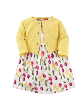 Luvable Friends Baby Girl Dress & Cardigan, 2pc Outfit Set