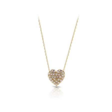 14K Yellow Gold Diamond Accent Heart Necklace -