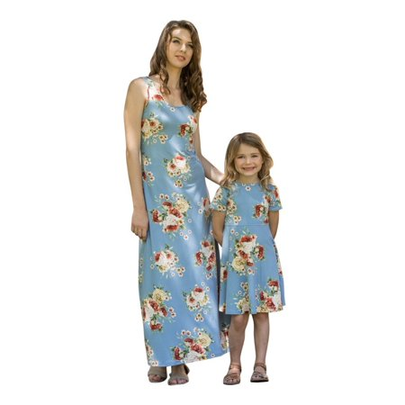 Girls Sun Dress (Little Girls Blue Flower Printed Short Sleeves Summer)