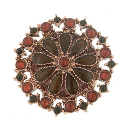 Orange Flower Ring - 1928 Jewelry  Copper Tone Topaz Color and Orange Flower Round Stretch Ring