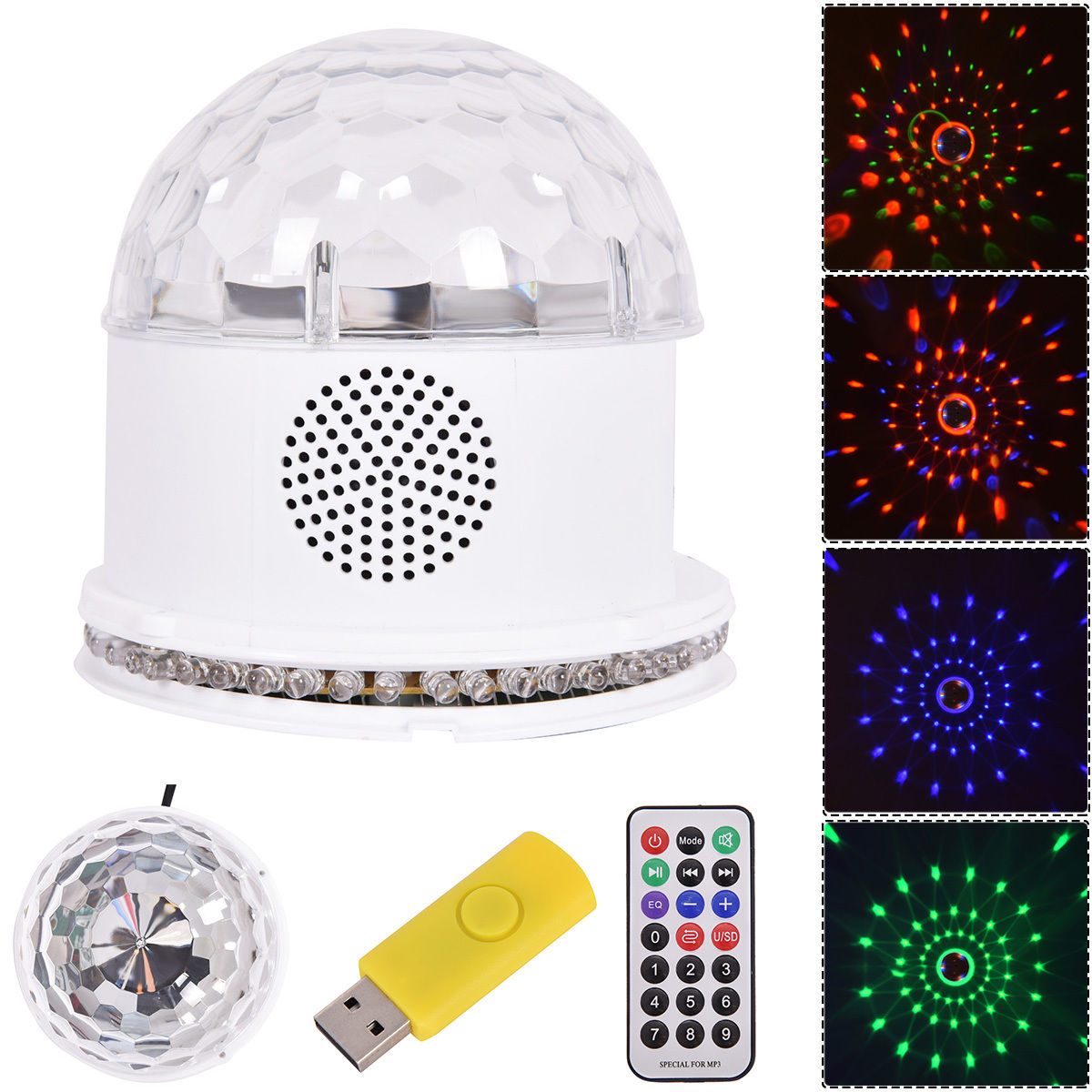 Costway 10W MP3 RGB 48 LED Crystal Magic Ball Stage Light Digital Disco DJ KTV Party by Costway