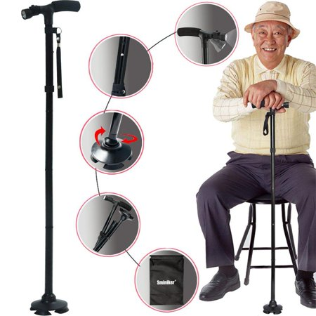 Sminiker Professional LED Folding Walking Cane with Carrying Bag for Old Gentleman or Lady Aluminum Alloy Foldable Cane with