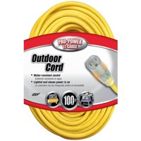 Coleman Cable 02589 12/3 Vinyl Outdoor Extension Cord with Lighted End, 100-Foot
