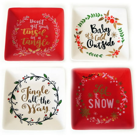 - Mainstays Holiday Sayings 4-Pack Mixed Appetizer Plate Set, Walmart Exclusive