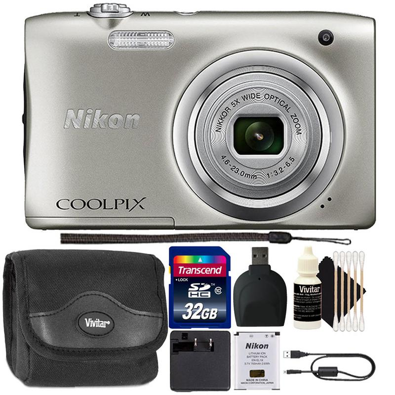 Nikon Coolpix A100 20.1MP 5x Optical Zoom Compact Digital Camera (Silver) + 32GB Memory Card Great Gift Set