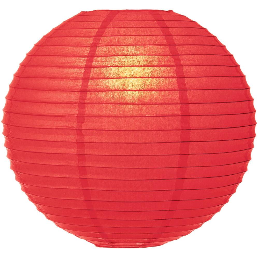 Luna Bazaar Paper Lantern (30-Inch, Parallel Ribbing, Poppy Red ) - Rice Paper Chinese/Japanese Hanging Decoration