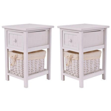 Costway Set of 2 Mini Night Stand 2 Layer 1 Drawer Bedside End Table Organizer Wood W/Basket 2 Drawer Phone Stand