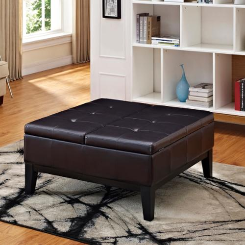 WyndenHall Lancaster Square Coffee Table Ottoman And Split Lift Lid
